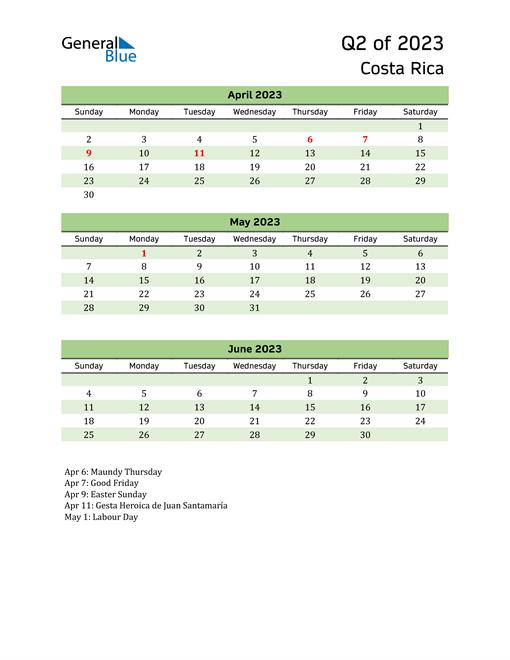 Quarterly Calendar 2023 with Costa Rica Holidays