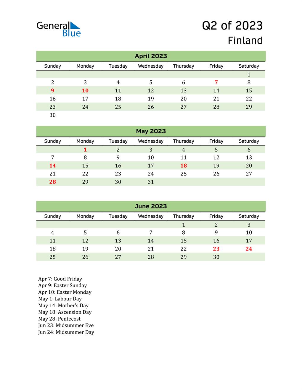 Quarterly Calendar 2023 with Finland Holidays
