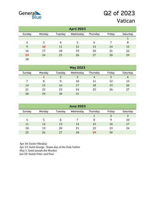Quarterly Calendar 2023 with Vatican Holidays