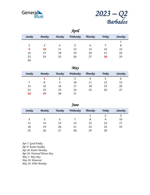 April, May, and June Calendar for Barbados