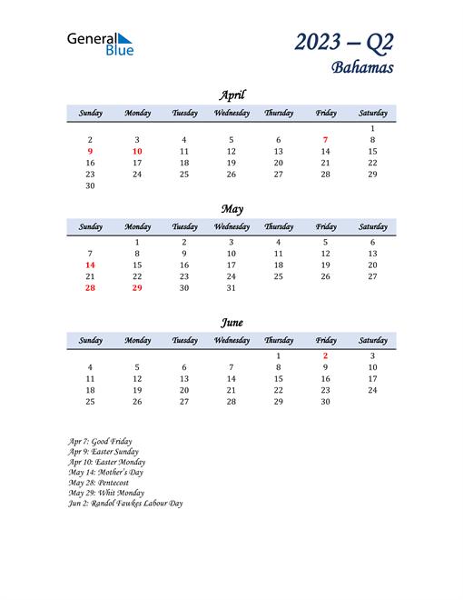 April, May, and June Calendar for Bahamas