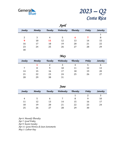 April, May, and June Calendar for Costa Rica