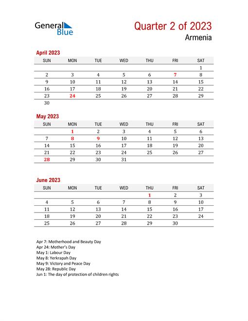 Printable Three Month Calendar for Armenia
