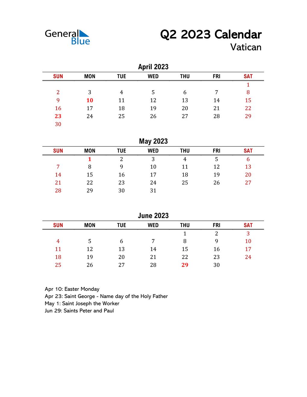 2023 Q2 Calendar with Holidays List