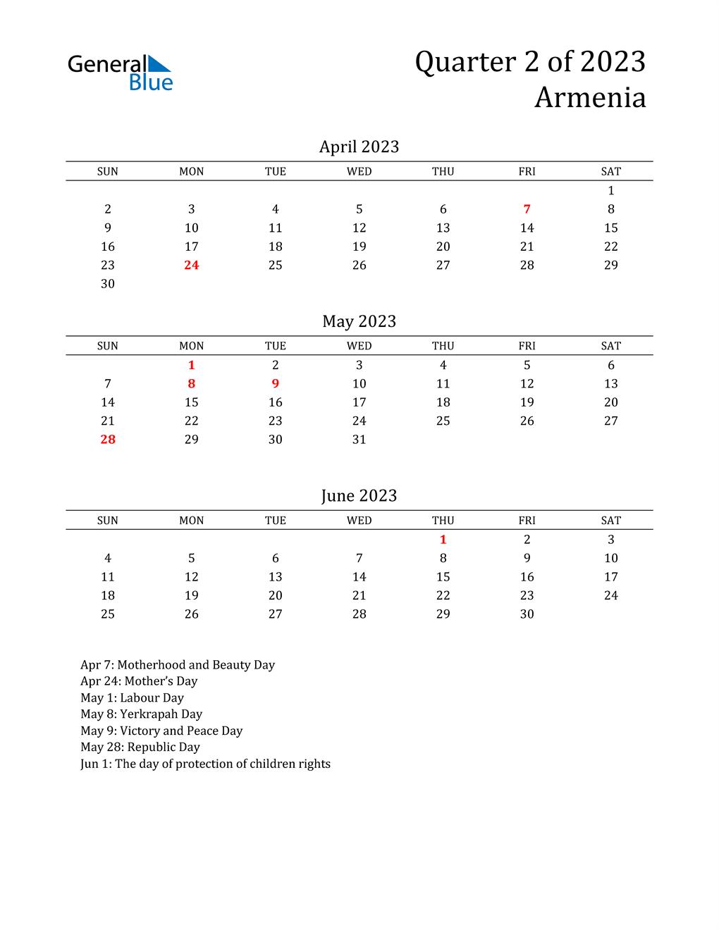 2023 Armenia Quarterly Calendar