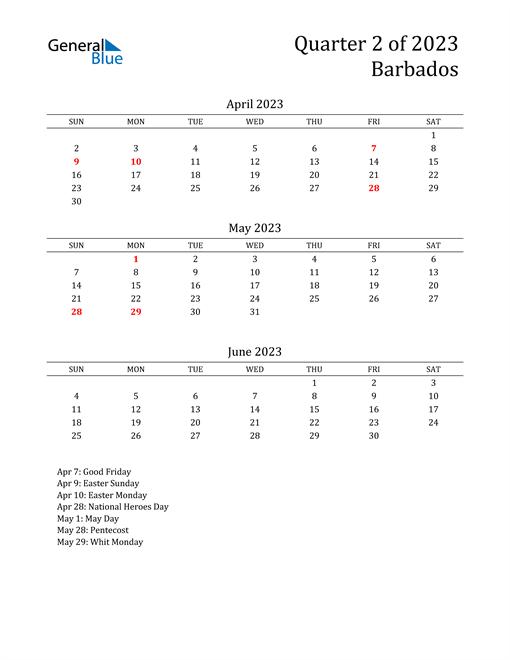 2023 Barbados Quarterly Calendar