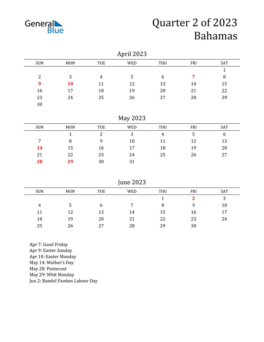 2023 Bahamas Quarterly Calendar
