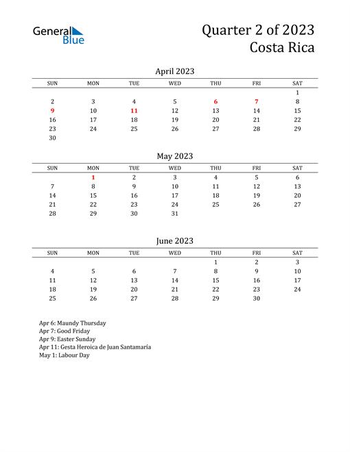 2023 Costa Rica Quarterly Calendar