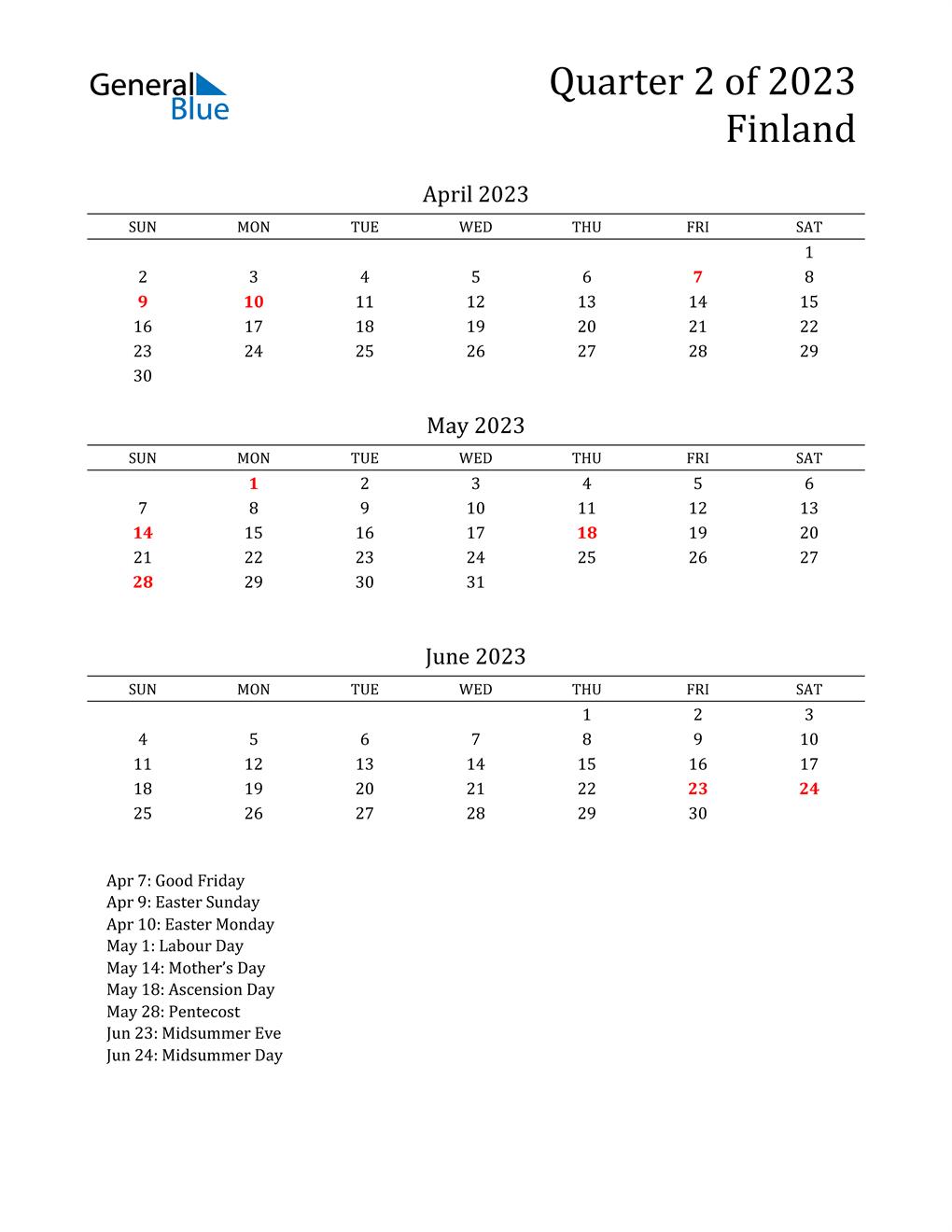 2023 Finland Quarterly Calendar