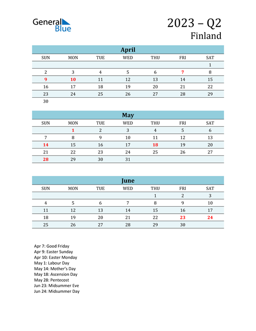 Three-Month Planner for Q2 2023 with Holidays