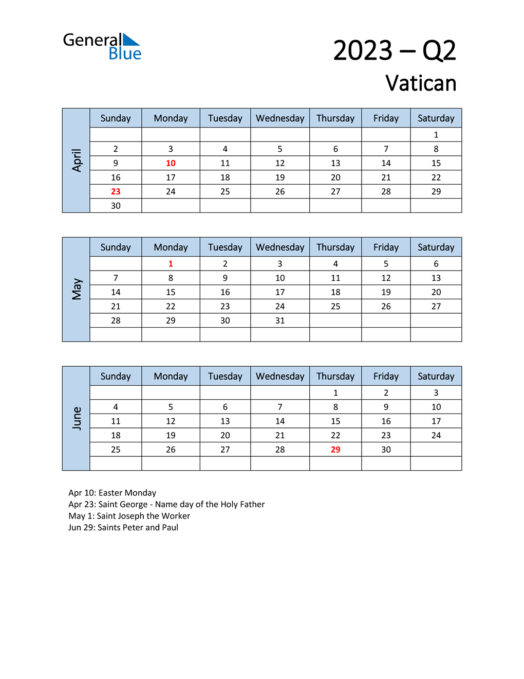 Free Q2 2023 Calendar for Vatican