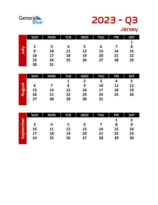 Q3 2023 Calendar with Holidays