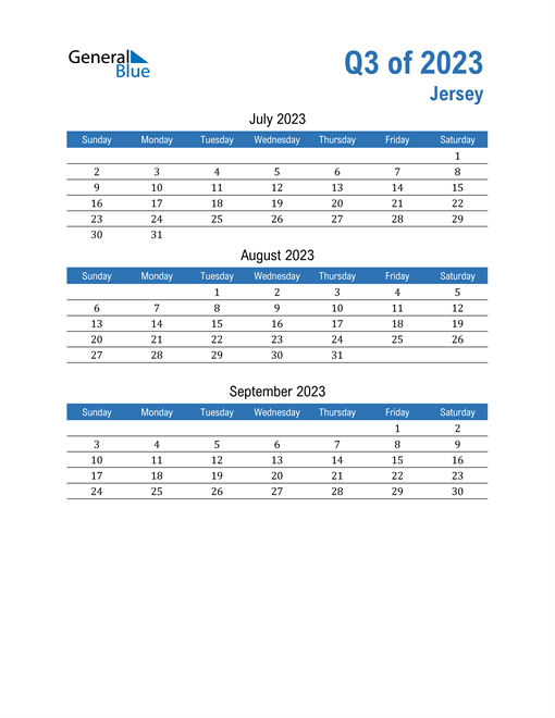 Jersey 2023 Quarterly Calendar