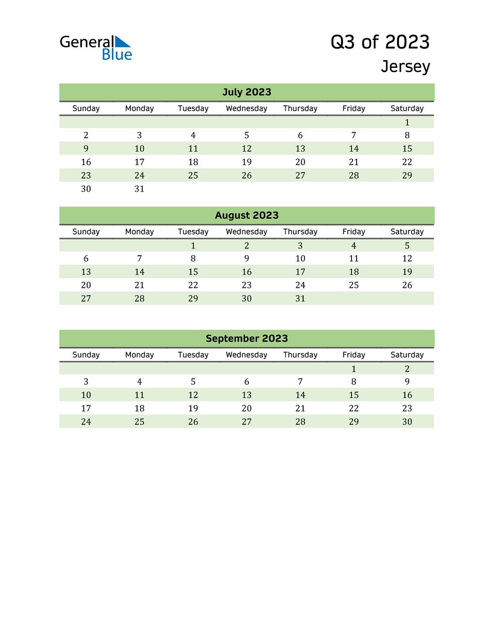 Quarterly Calendar 2023 with Jersey Holidays
