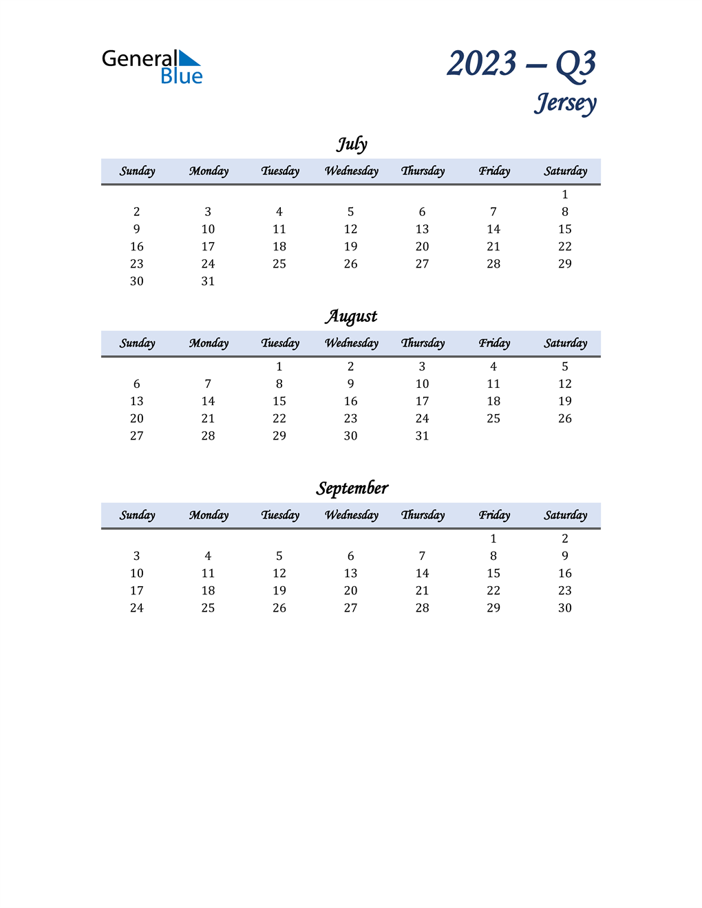 July, August, and September Calendar for Jersey