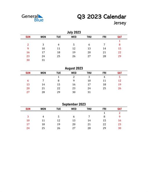 2023 Q3 Calendar with Holidays List