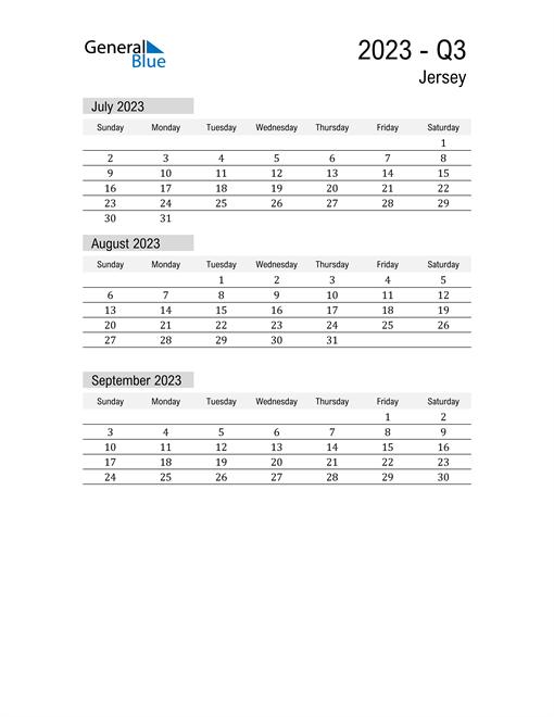 Jersey Quarter 3 2023 Calendar
