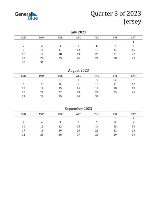 2023 Jersey Quarterly Calendar
