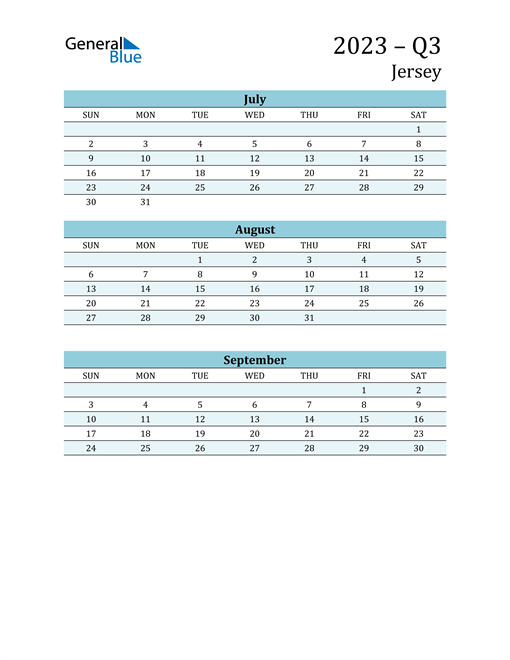 Three-Month Planner for Q3 2023 with Holidays