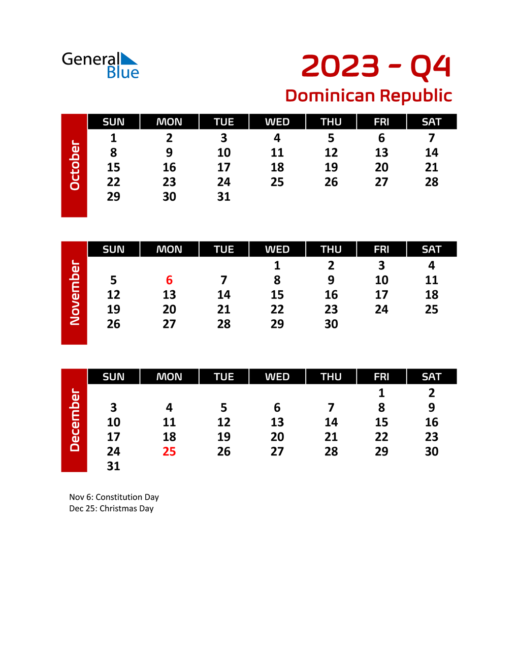 Q4 2023 Calendar with Holidays