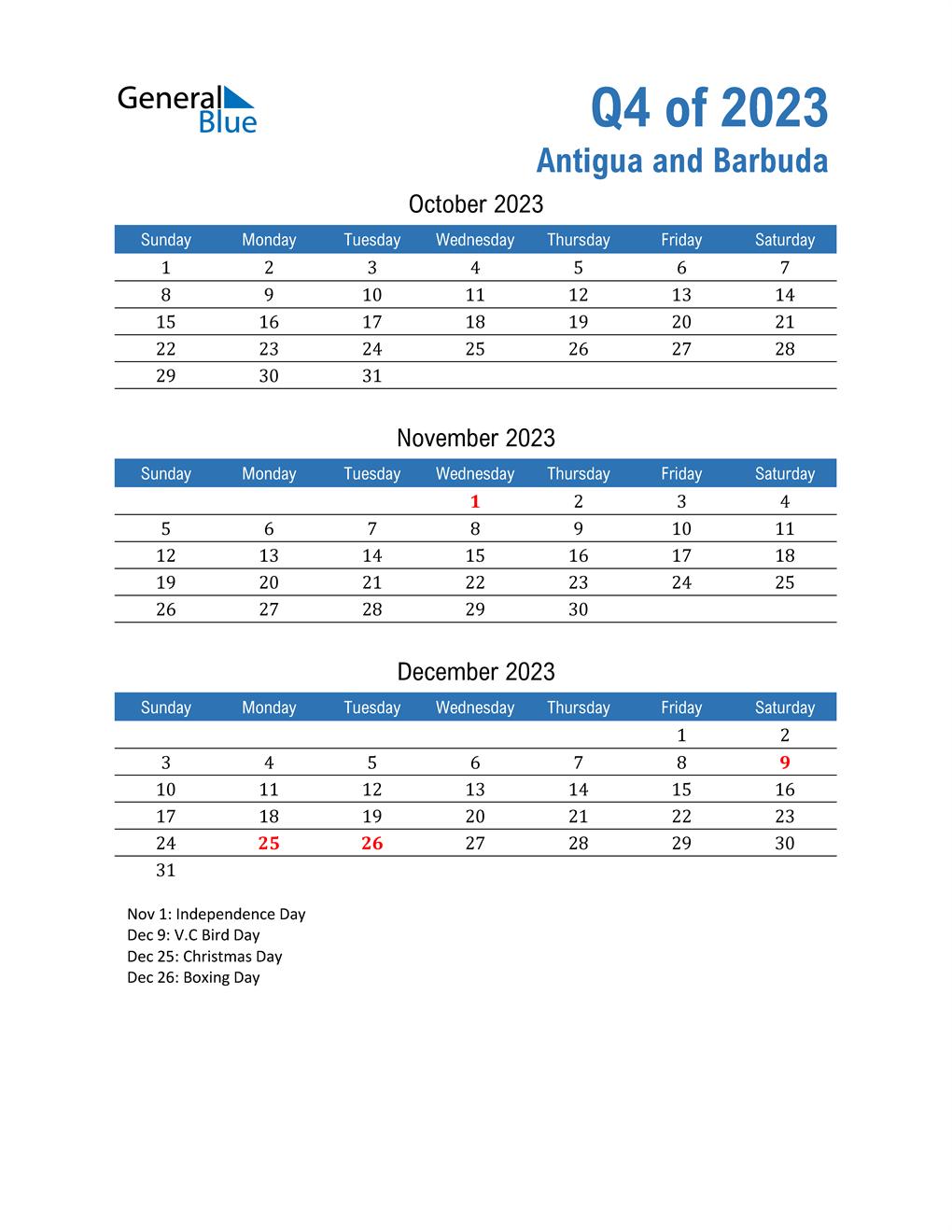 Antigua and Barbuda 2023 Quarterly Calendar
