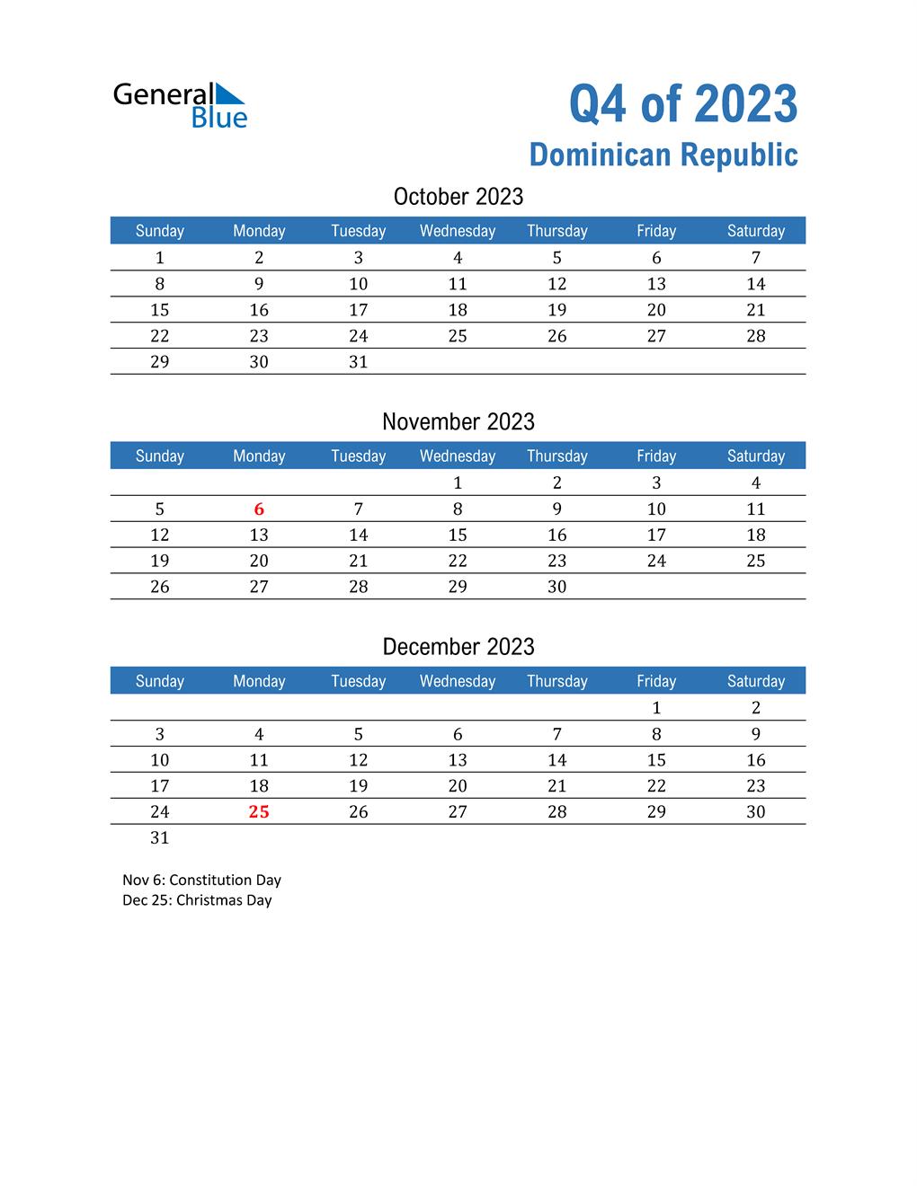 Dominican Republic 2023 Quarterly Calendar