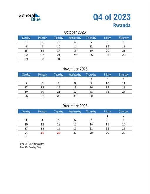 Rwanda 2023 Quarterly Calendar