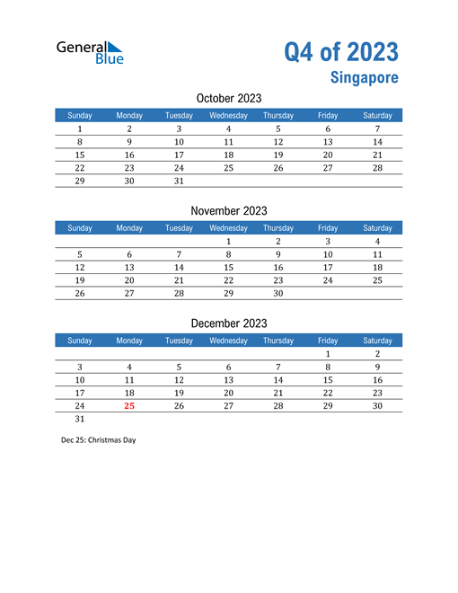 Singapore 2023 Quarterly Calendar
