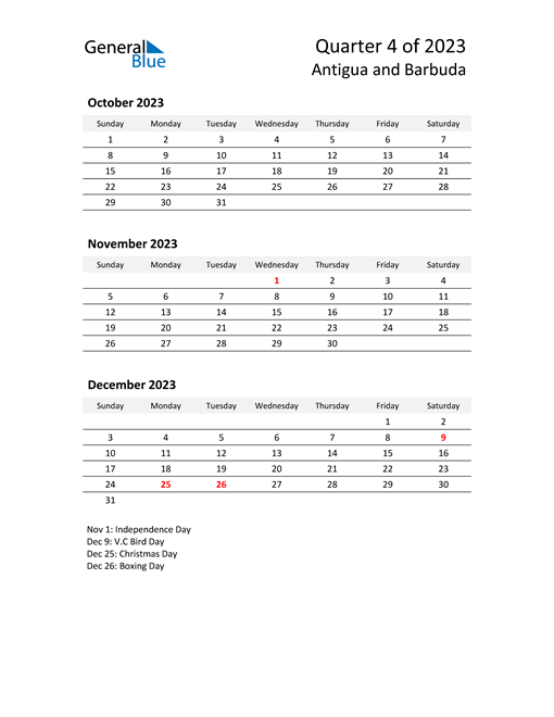 2023 Three-Month Calendar for Antigua and Barbuda
