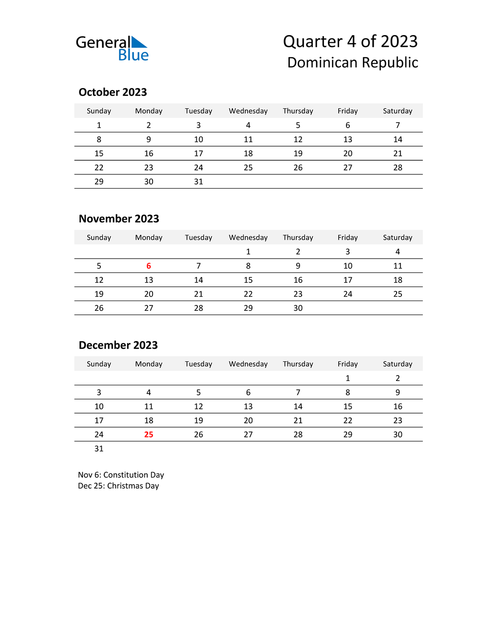 2023 Three-Month Calendar for Dominican Republic