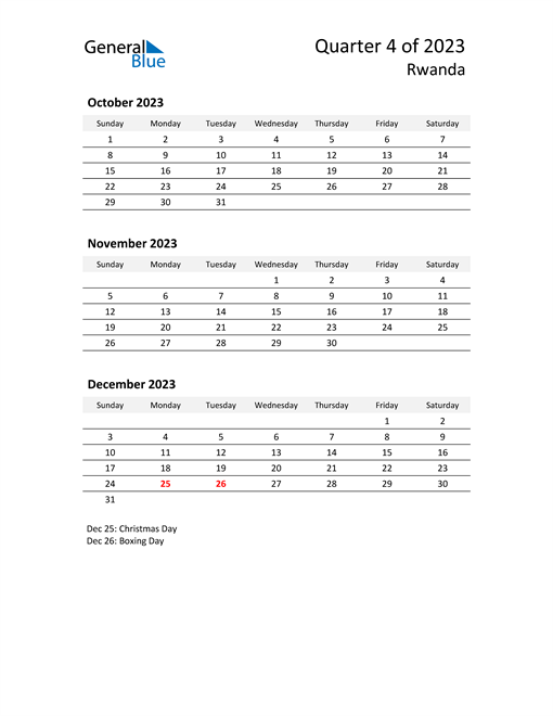 2023 Three-Month Calendar for Rwanda