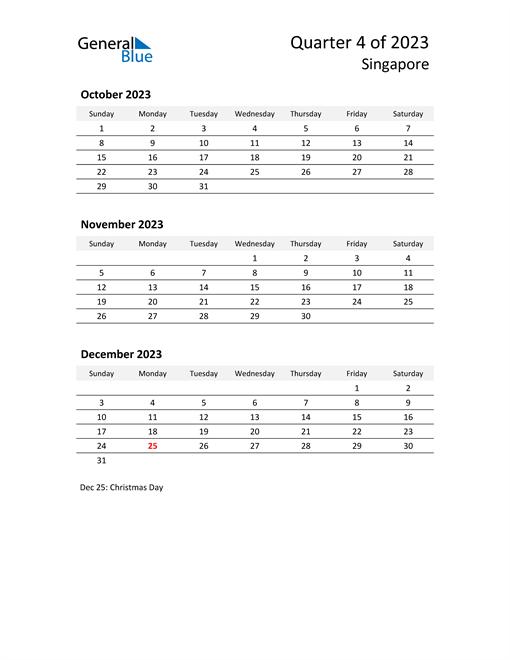 2023 Three-Month Calendar for Singapore