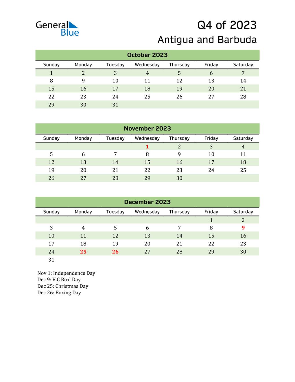 Quarterly Calendar 2023 with Antigua and Barbuda Holidays
