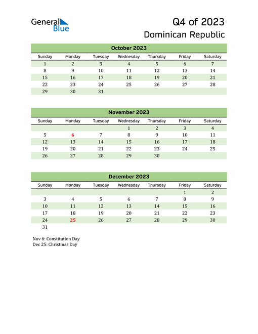 Quarterly Calendar 2023 with Dominican Republic Holidays