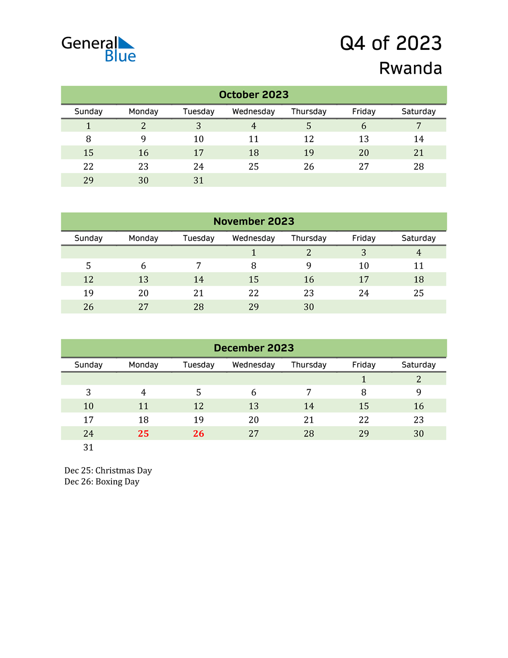 Quarterly Calendar 2023 with Rwanda Holidays