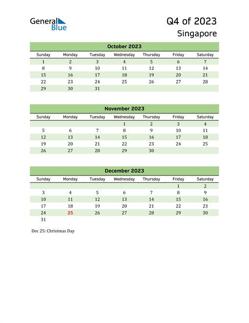 Quarterly Calendar 2023 with Singapore Holidays