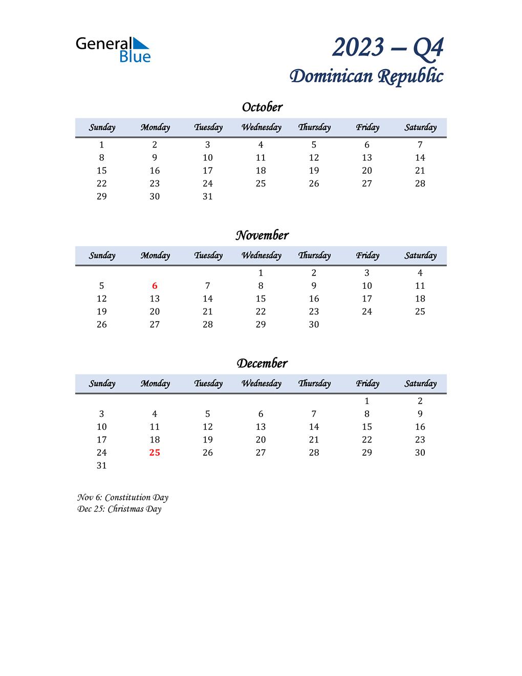 October, November, and December Calendar for Dominican Republic
