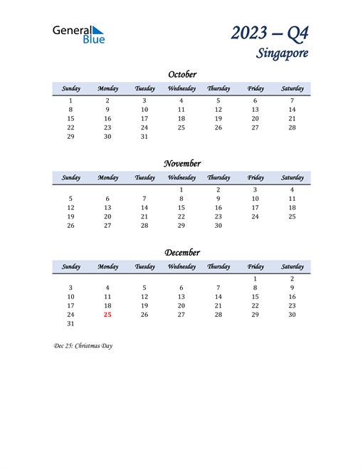 October, November, and December Calendar for Singapore