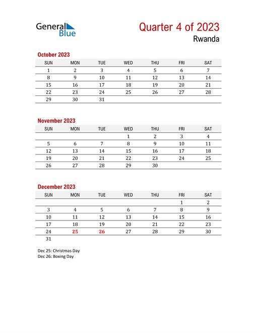 Printable Three Month Calendar for Rwanda