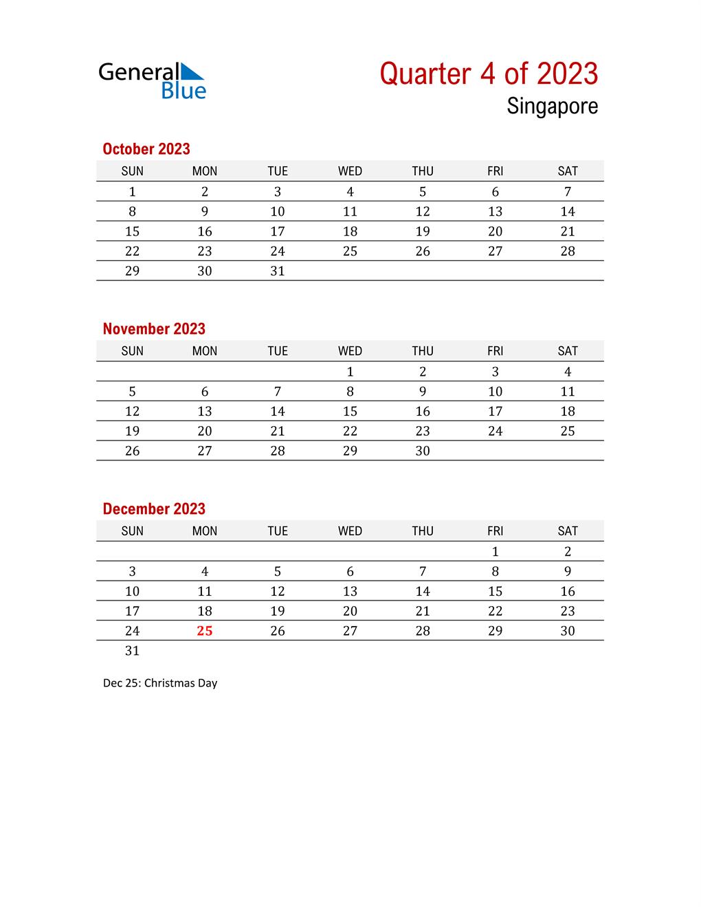 Printable Three Month Calendar for Singapore