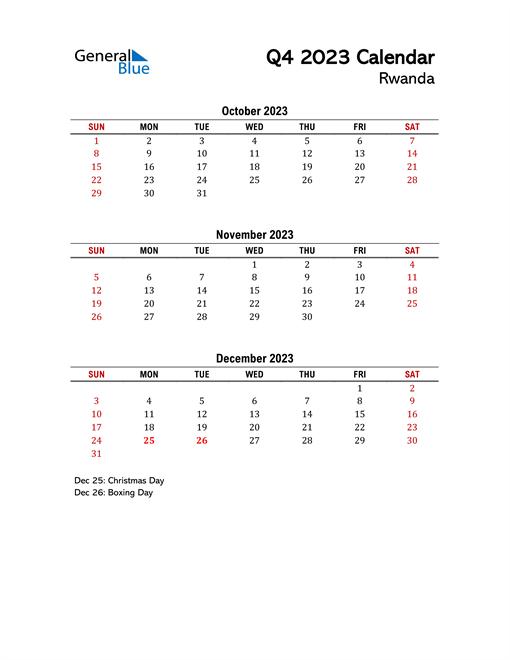 2023 Q4 Calendar with Holidays List