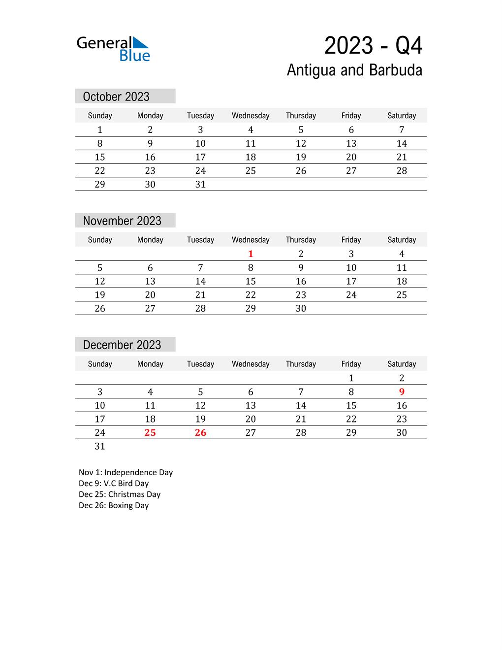 Antigua and Barbuda Quarter 4 2023 Calendar