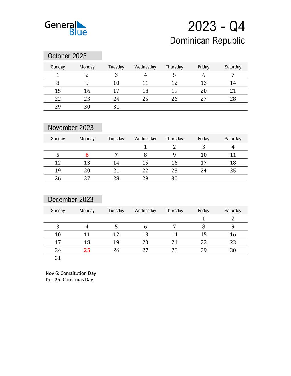 Dominican Republic Quarter 4 2023 Calendar