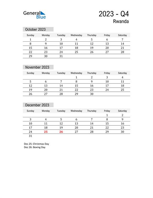 Rwanda Quarter 4 2023 Calendar