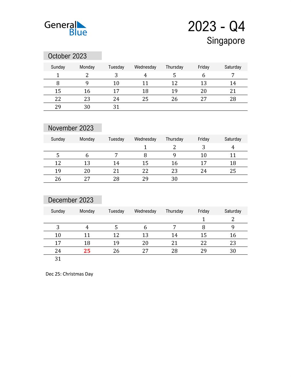 Singapore Quarter 4 2023 Calendar