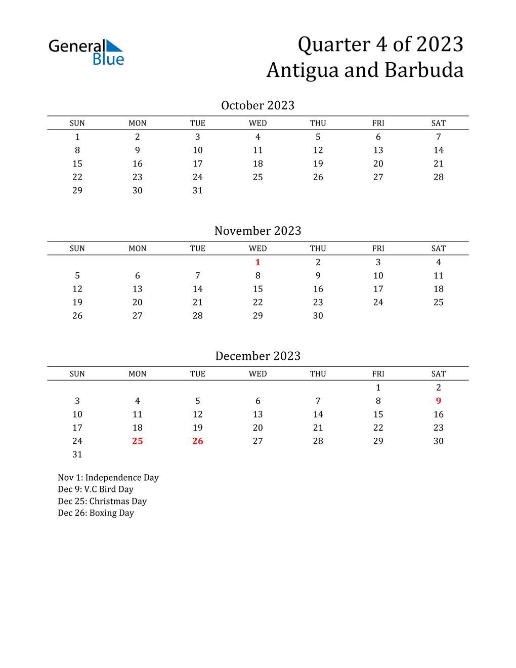 2023 Antigua and Barbuda Quarterly Calendar