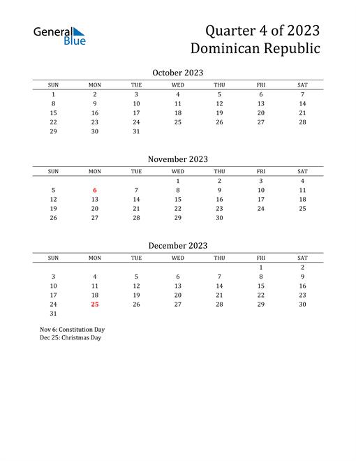 2023 Dominican Republic Quarterly Calendar