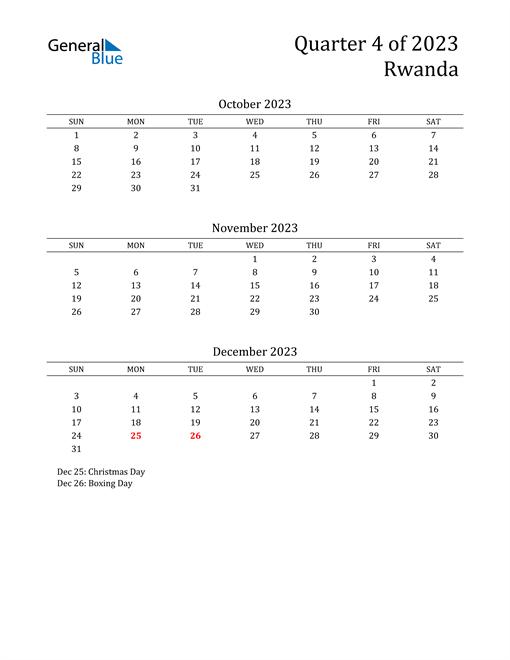 2023 Rwanda Quarterly Calendar
