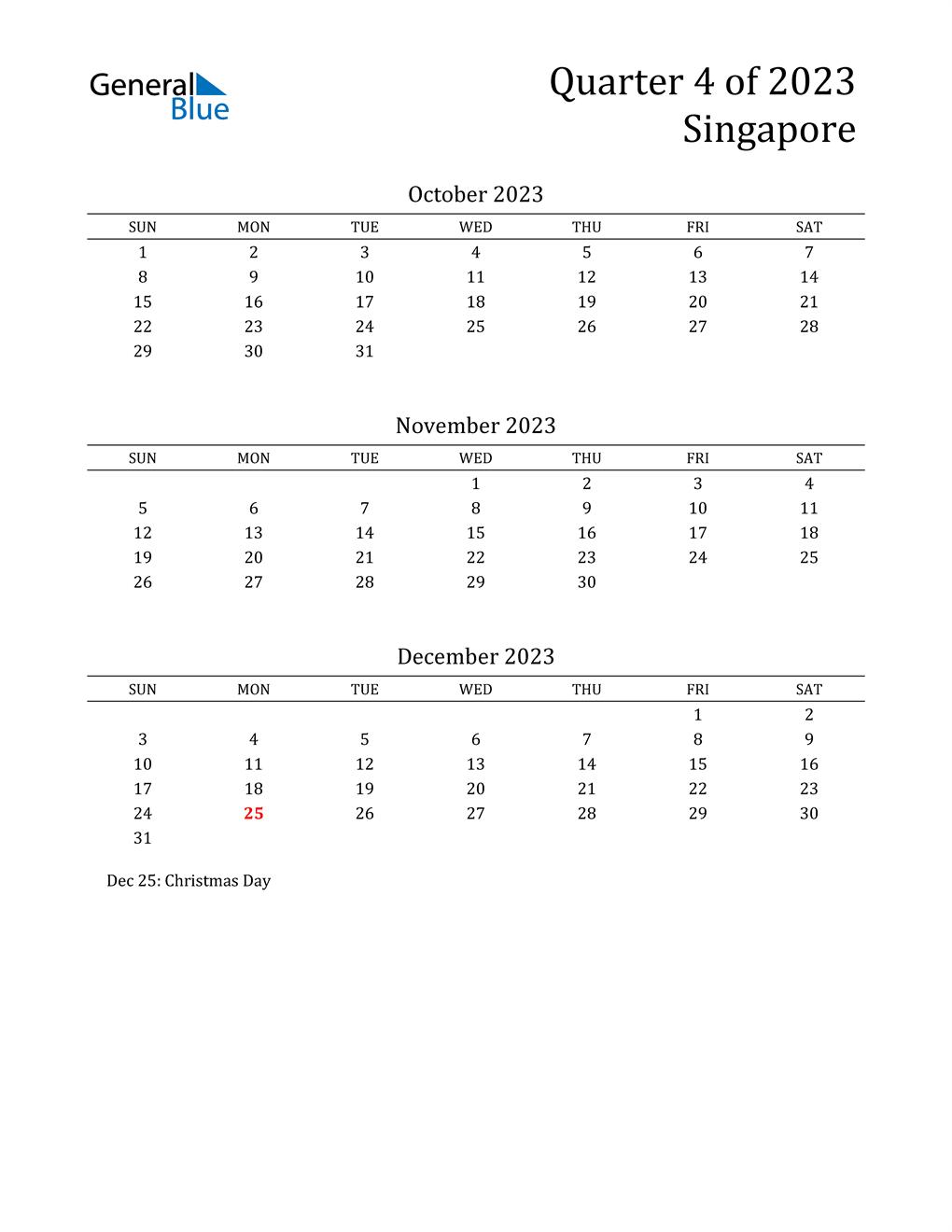 2023 Singapore Quarterly Calendar
