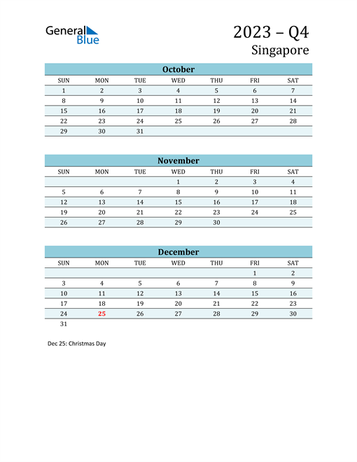 Three-Month Planner for Q4 2023 with Holidays